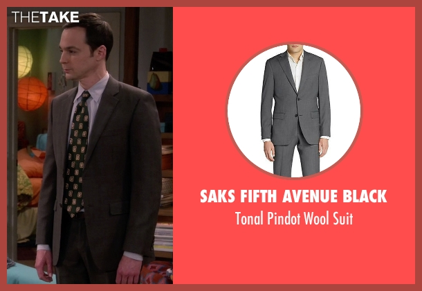 Saks Fifth Avenue BLACK gray suit from The Big Bang Theory seen with Sheldon Cooper (Jim Parsons)
