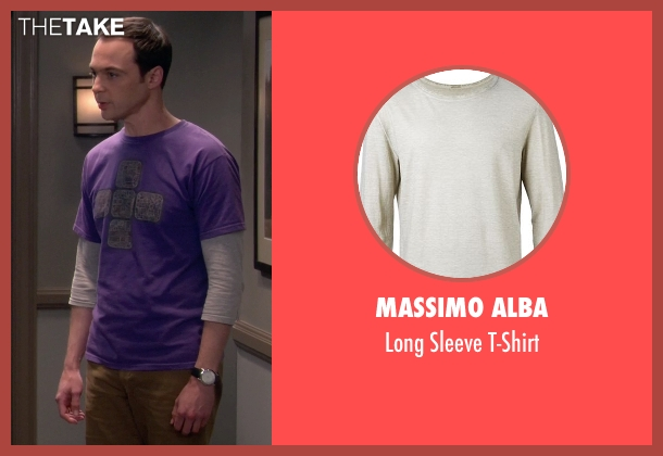 Massimo Alba gray t-shirt from The Big Bang Theory seen with Sheldon Cooper (Jim Parsons)