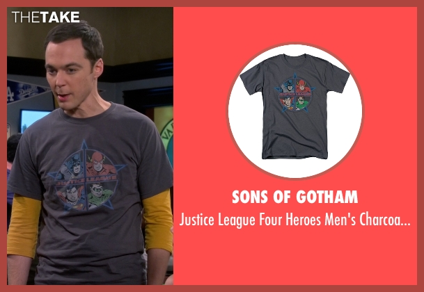 Sons of Gotham gray t-shirt from The Big Bang Theory seen with Sheldon Cooper (Jim Parsons)