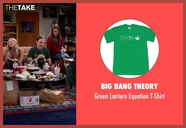 Big Bang Theory green t-shirt from The Big Bang Theory seen with Sheldon Cooper (Jim Parsons)