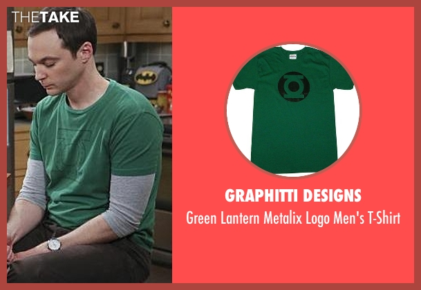 Graphitti Designs green t-shirt from The Big Bang Theory seen with Sheldon Cooper (Jim Parsons)
