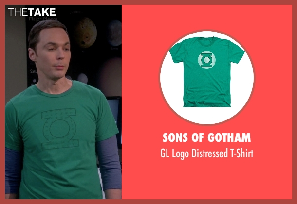 Sons Of Gotham green t-shirt from The Big Bang Theory seen with Sheldon Cooper (Jim Parsons)