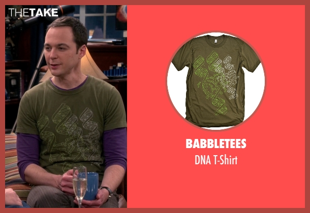 BabbleTees green t-shirt from The Big Bang Theory seen with Sheldon Cooper (Jim Parsons)