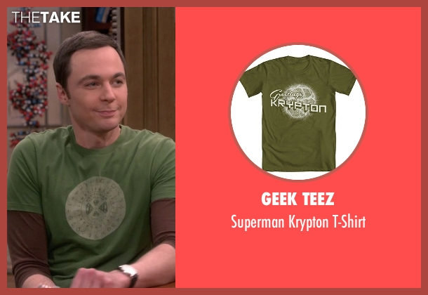 Geek Teez green t-shirt from The Big Bang Theory seen with Sheldon Cooper (Jim Parsons)