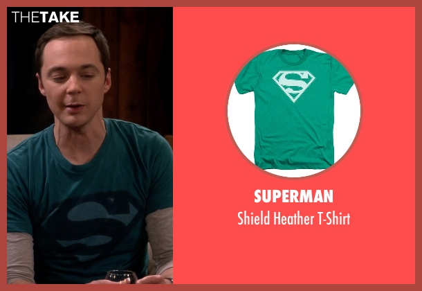 Superman green t-shirt from The Big Bang Theory seen with Sheldon Cooper (Jim Parsons)