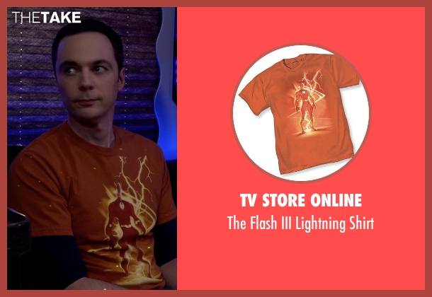TV Store Online orange shirt from The Big Bang Theory seen with Sheldon Cooper (Jim Parsons)
