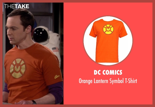 DC Comics orange t-shirt from The Big Bang Theory seen with Sheldon Cooper (Jim Parsons)