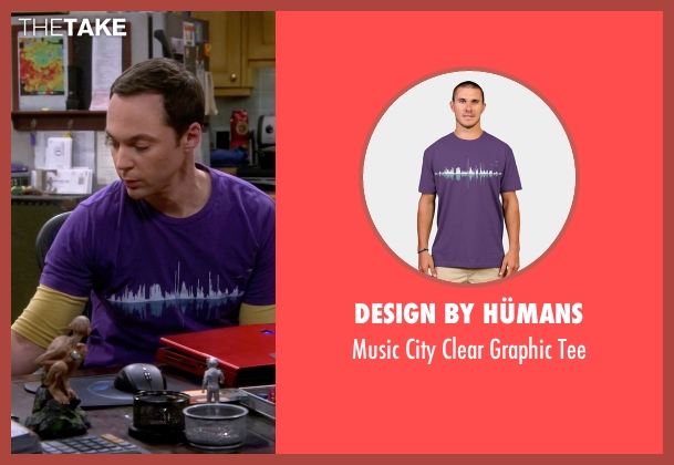 Design by Hümans purple tee from The Big Bang Theory seen with Sheldon Cooper (Jim Parsons)