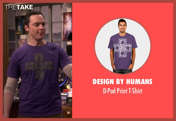 Design By Humans purple t-shirt from The Big Bang Theory seen with Sheldon Cooper (Jim Parsons)