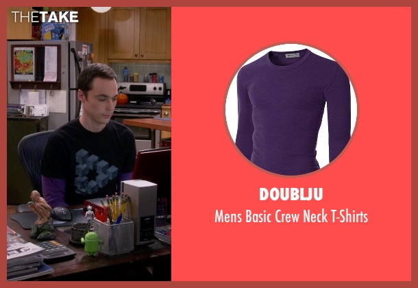 Doublju purple t-shirts from The Big Bang Theory seen with Sheldon Cooper (Jim Parsons)