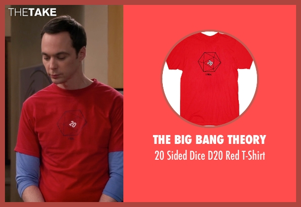The Big Bang Theory red t-shirt from The Big Bang Theory seen with Sheldon Cooper (Jim Parsons)
