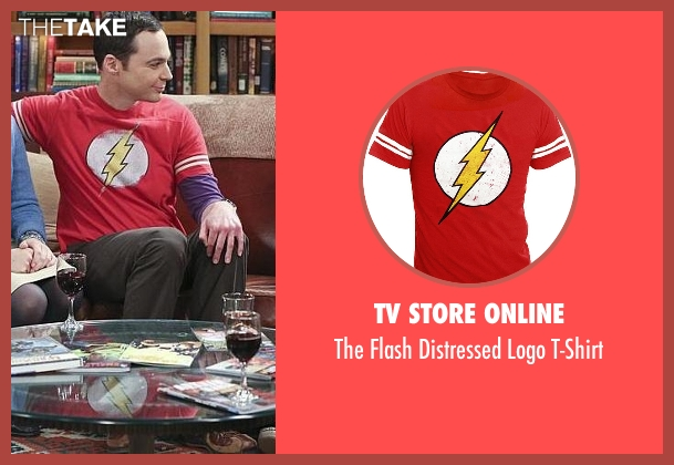 TV Store Online red t-shirt from The Big Bang Theory seen with Sheldon Cooper (Jim Parsons)