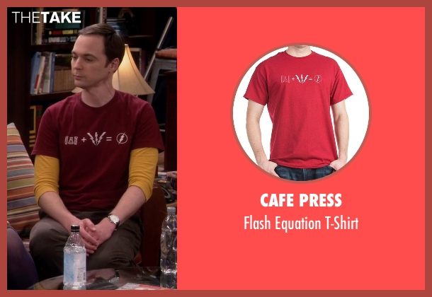 Cafe Press red t-shirt from The Big Bang Theory seen with Sheldon Cooper (Jim Parsons)