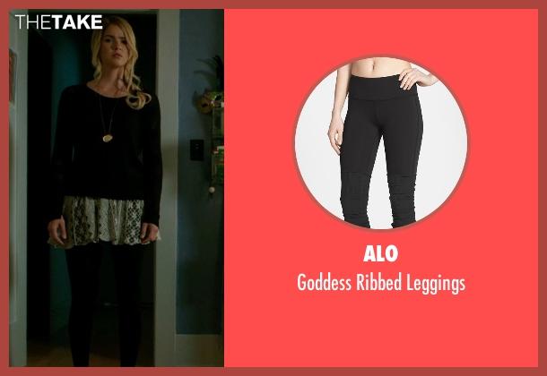 Alo black leggings from Ouija seen with Shelley Hennig (Debbie)