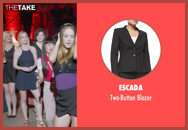 Escada black blazer from Pitch Perfect 2 seen with Shelley Regner (Ashley)