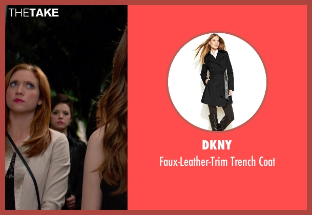 DKNY black coat from Pitch Perfect 2 seen with Shelley Regner (Ashley)
