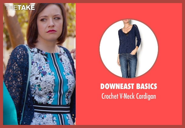 Downeast Basics blue cardigan from Pitch Perfect 2 seen with Shelley Regner (Ashley)