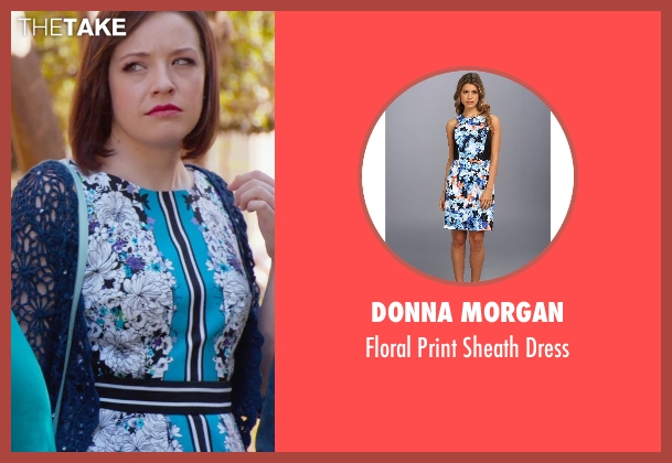 Donna Morgan blue dress from Pitch Perfect 2 seen with Shelley Regner (Ashley)