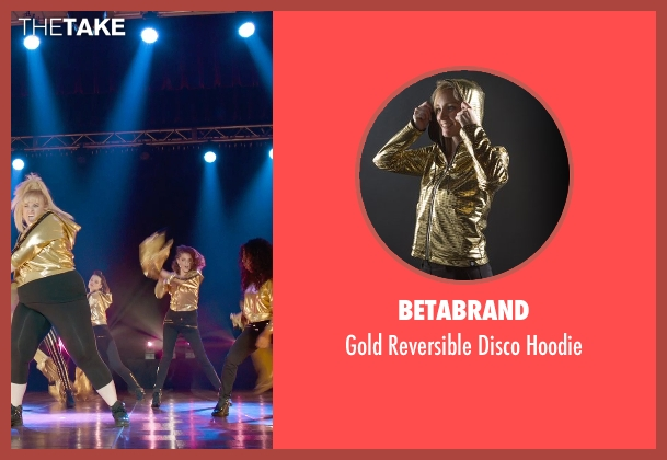 Betabrand gold hoodie from Pitch Perfect 2 seen with Shelley Regner (Ashley)