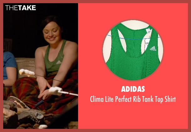 Adidas green shirt from Pitch Perfect 2 seen with Shelley Regner (Ashley)