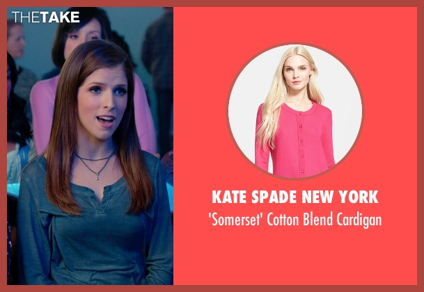 Kate Spade New York pink cardigan from Pitch Perfect 2 seen with Shelley Regner (Ashley)