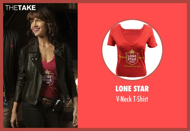 Lone Star red t-shirt from Roadies seen with Shelli (Carla Gugino)