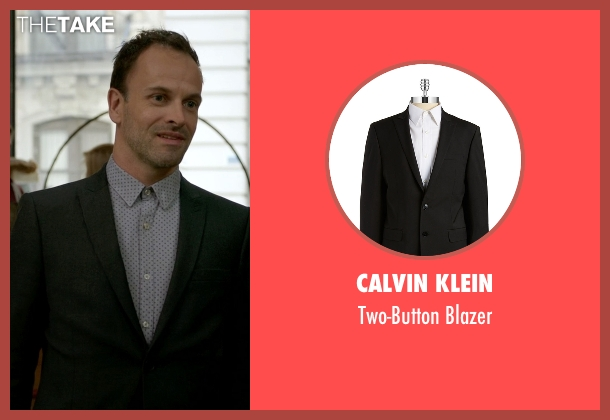 Calvin Klein black blazer from Elementary seen with Sherlock Holmes (Jonny Lee Miller)