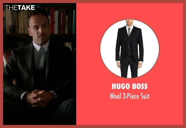 Hugo Boss black suit from Elementary seen with Sherlock Holmes (Jonny Lee Miller)