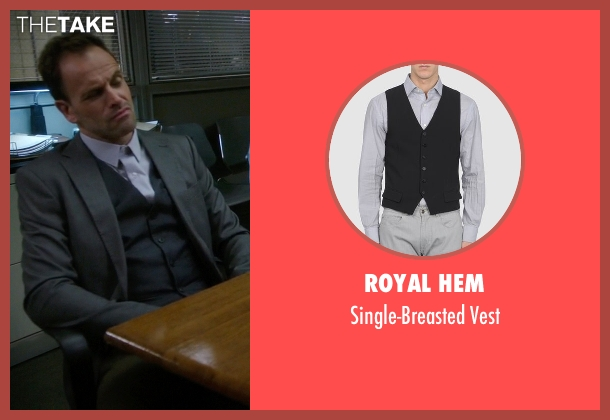Royal Hem black vest from Elementary seen with Sherlock Holmes (Jonny Lee Miller)