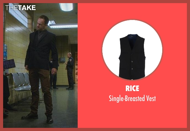 Rice black vest from Elementary seen with Sherlock Holmes (Jonny Lee Miller)