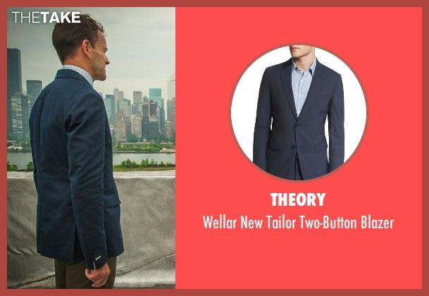 Theory blue blazer from Elementary seen with Sherlock Holmes (Jonny Lee Miller)