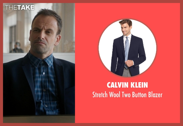 Calvin Klein blue blazer from Elementary seen with Sherlock Holmes (Jonny Lee Miller)