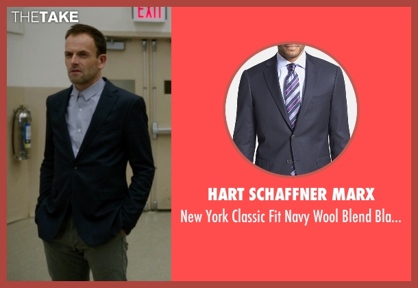 Hart Schaffner Marx blue blazer from Elementary seen with Sherlock Holmes (Jonny Lee Miller)