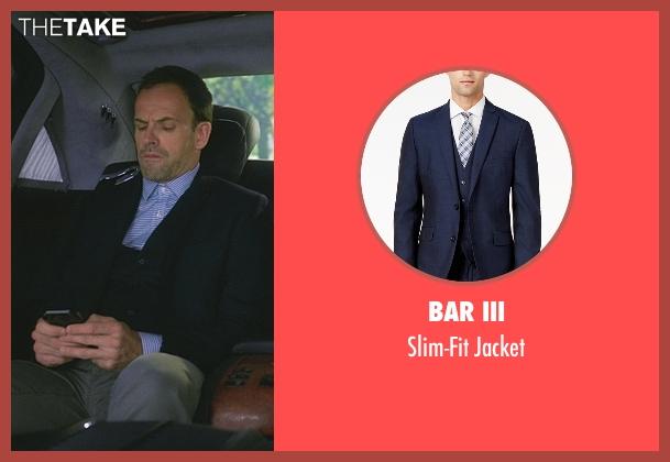 Bar III blue jacket from Elementary seen with Sherlock Holmes (Jonny Lee Miller)