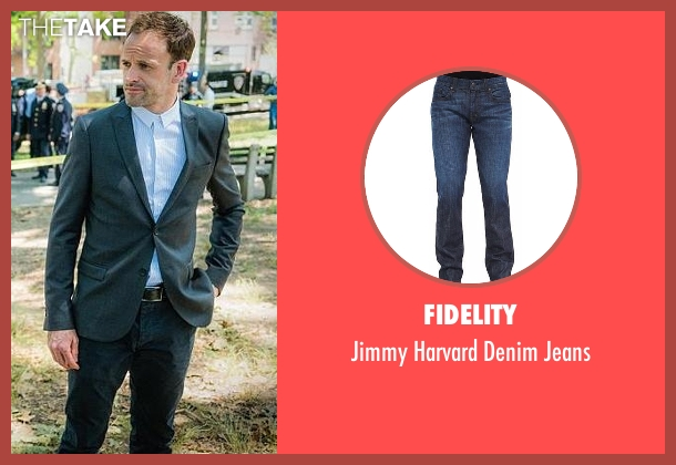 Fidelity blue jeans from Elementary seen with Sherlock Holmes (Jonny Lee Miller)