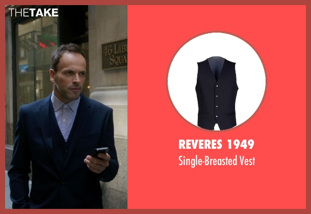 Reveres 1949 blue vest from Elementary seen with Sherlock Holmes (Jonny Lee Miller)