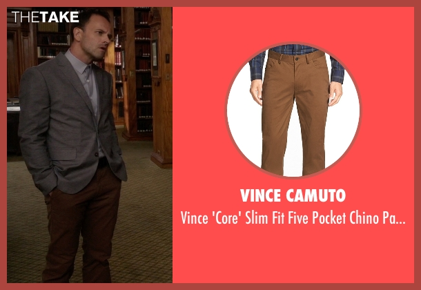 Vince Camuto brown pants from Elementary seen with Sherlock Holmes (Jonny Lee Miller)