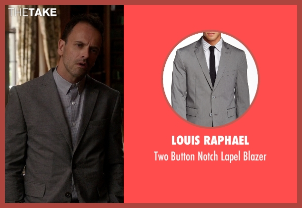 Louis Raphael gray blazer from Elementary seen with Sherlock Holmes (Jonny Lee Miller)