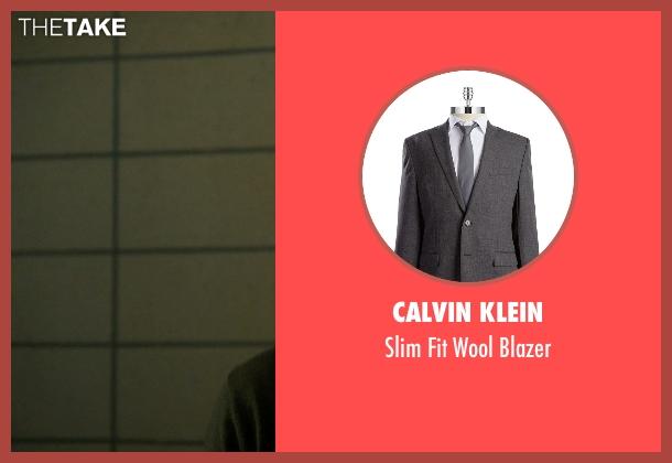 Calvin Klein gray blazer from Elementary seen with Sherlock Holmes (Jonny Lee Miller)