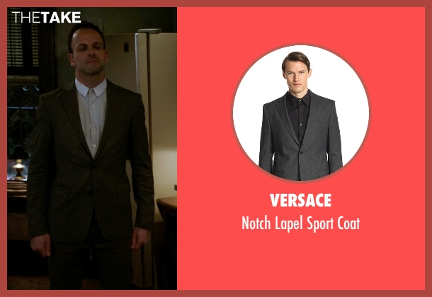 Versace gray coat from Elementary seen with Sherlock Holmes (Jonny Lee Miller)