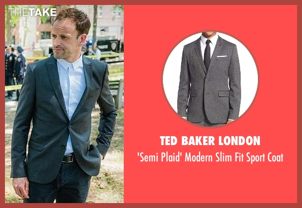 Ted Baker London gray coat from Elementary seen with Sherlock Holmes (Jonny Lee Miller)