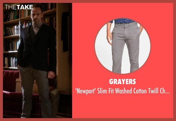 Grayers gray pants from Elementary seen with Sherlock Holmes (Jonny Lee Miller)