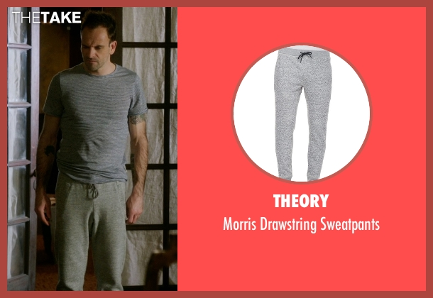 Theory gray sweatpants from Elementary seen with Sherlock Holmes (Jonny Lee Miller)