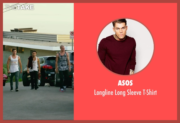 Asos red t-shirt from We Are Your Friends seen with Shiloh Fernandez (Ollie)
