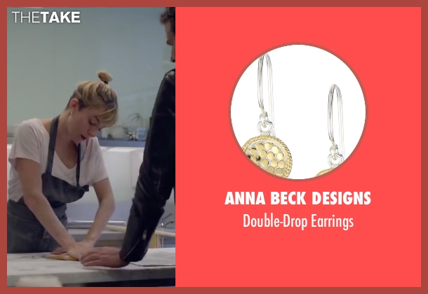 Anna Beck Designs gold earrings from Burnt seen with Sienna Miller (Helene)
