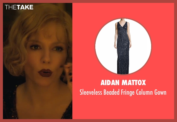 Aidan Mattox black gown from Live By Night seen with Sienna Miller (Emma Gould)