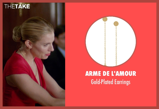 Arme De L'Amour gold earrings from Unfinished Business seen with Sienna Miller (Chuck Portnoy)