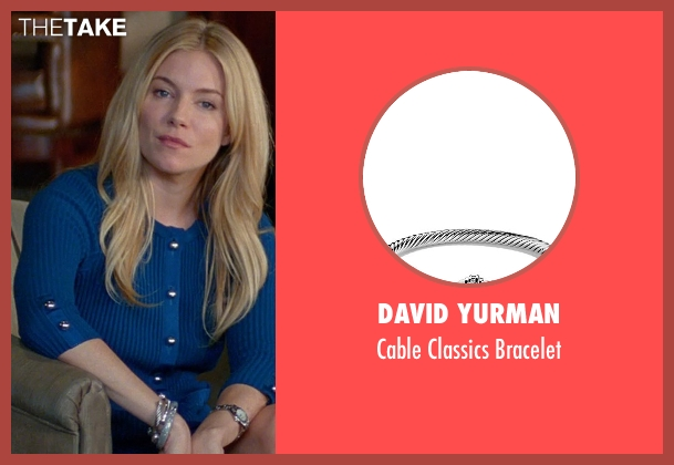 David Yurman silver bracelet from Unfinished Business seen with Sienna Miller (Chuck Portnoy)