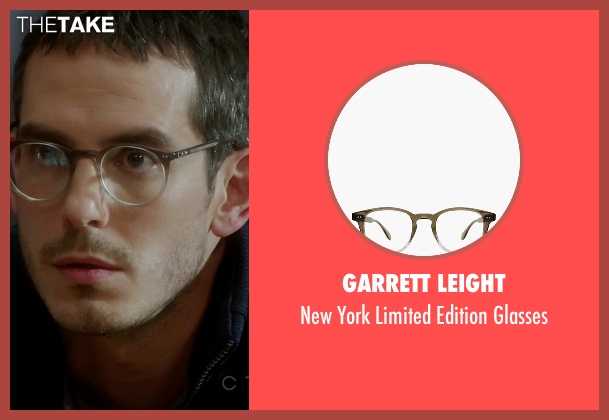 Garrett Leight black glasses from Quantico seen with Simon Asher (Tate Ellington)