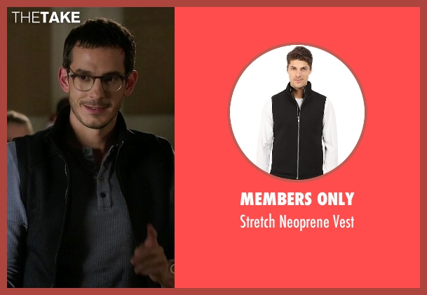 Members Only black vest from Quantico seen with Simon Asher (Tate Ellington)